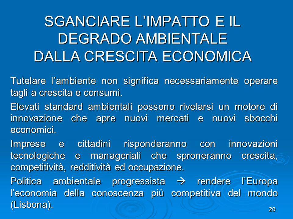 SGANCIARE L'IMPATTO E IL DEGRADO AMBIENTALE DALLA CRESCITA ECONOMICA