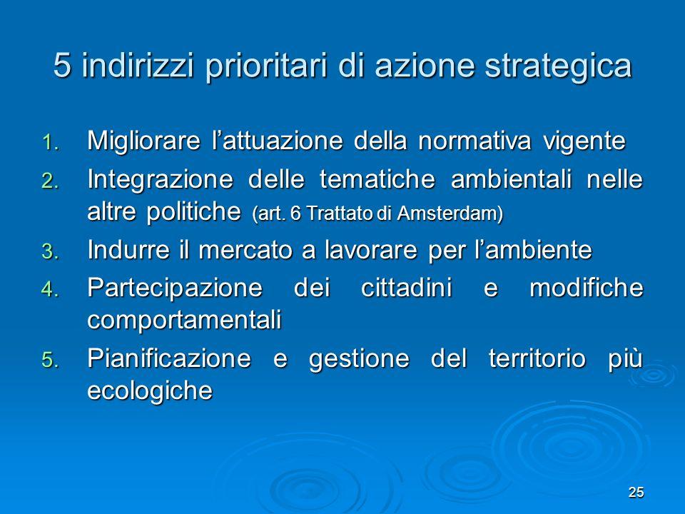 5 indirizzi prioritari di azione strategica