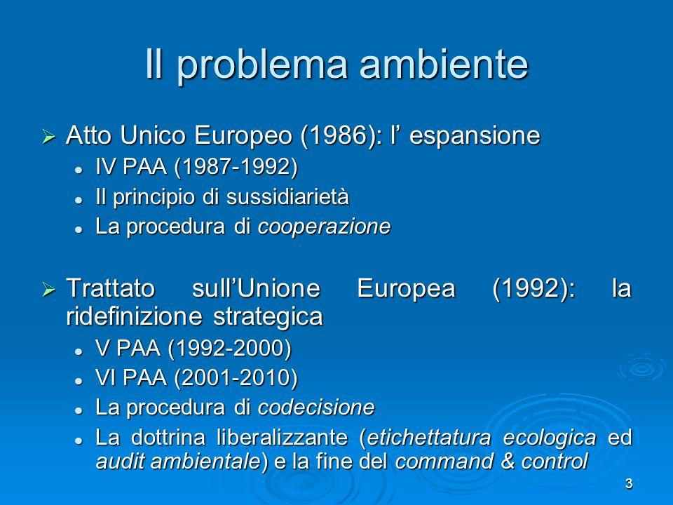 Il problema ambiente Atto Unico Europeo (1986): l' espansione