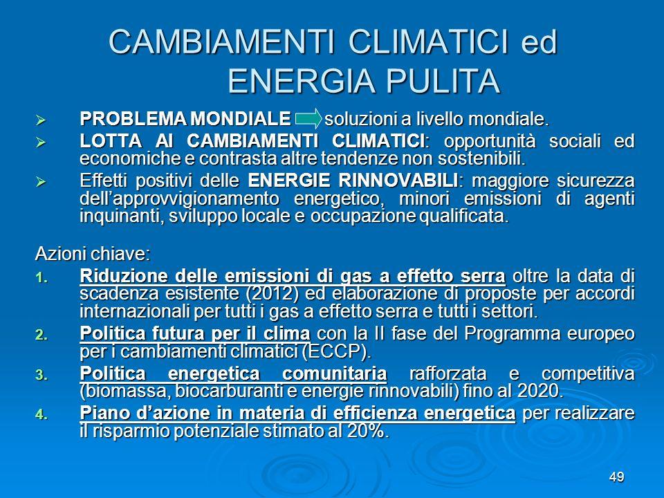 CAMBIAMENTI CLIMATICI ed ENERGIA PULITA