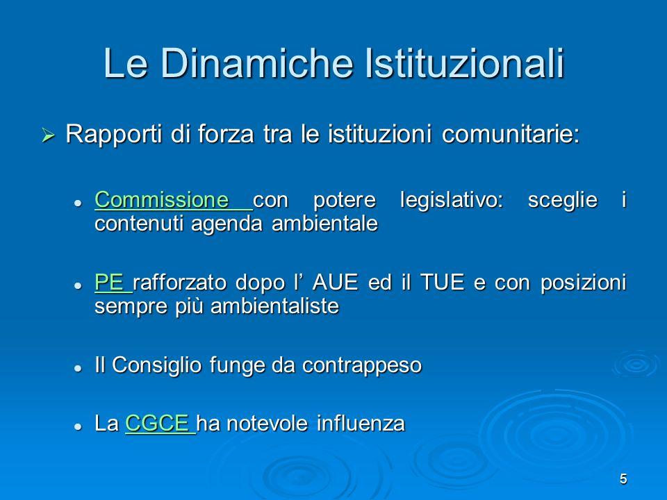 Le Dinamiche Istituzionali