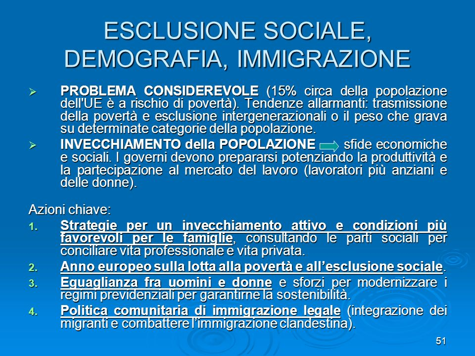 ESCLUSIONE SOCIALE, DEMOGRAFIA, IMMIGRAZIONE