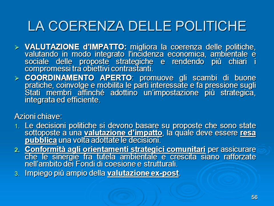 LA COERENZA DELLE POLITICHE