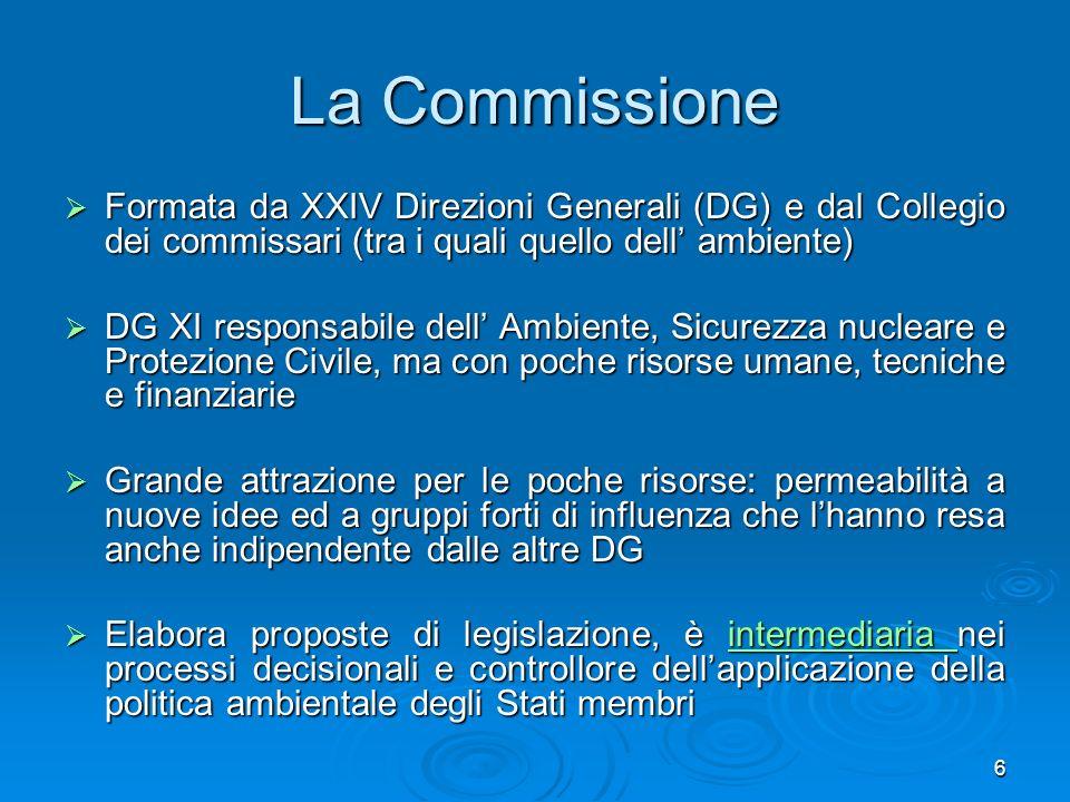 La Commissione Formata da XXIV Direzioni Generali (DG) e dal Collegio dei commissari (tra i quali quello dell' ambiente)