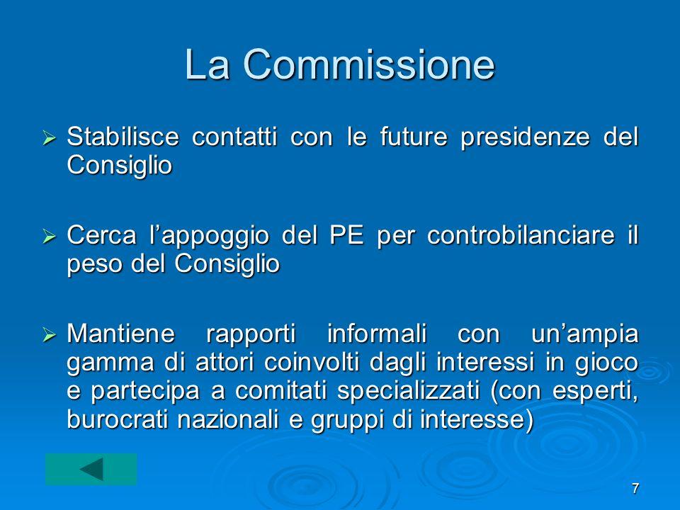 La Commissione Stabilisce contatti con le future presidenze del Consiglio. Cerca l'appoggio del PE per controbilanciare il peso del Consiglio.