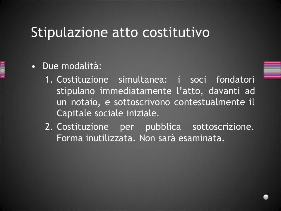 Stipulazione atto costitutivo