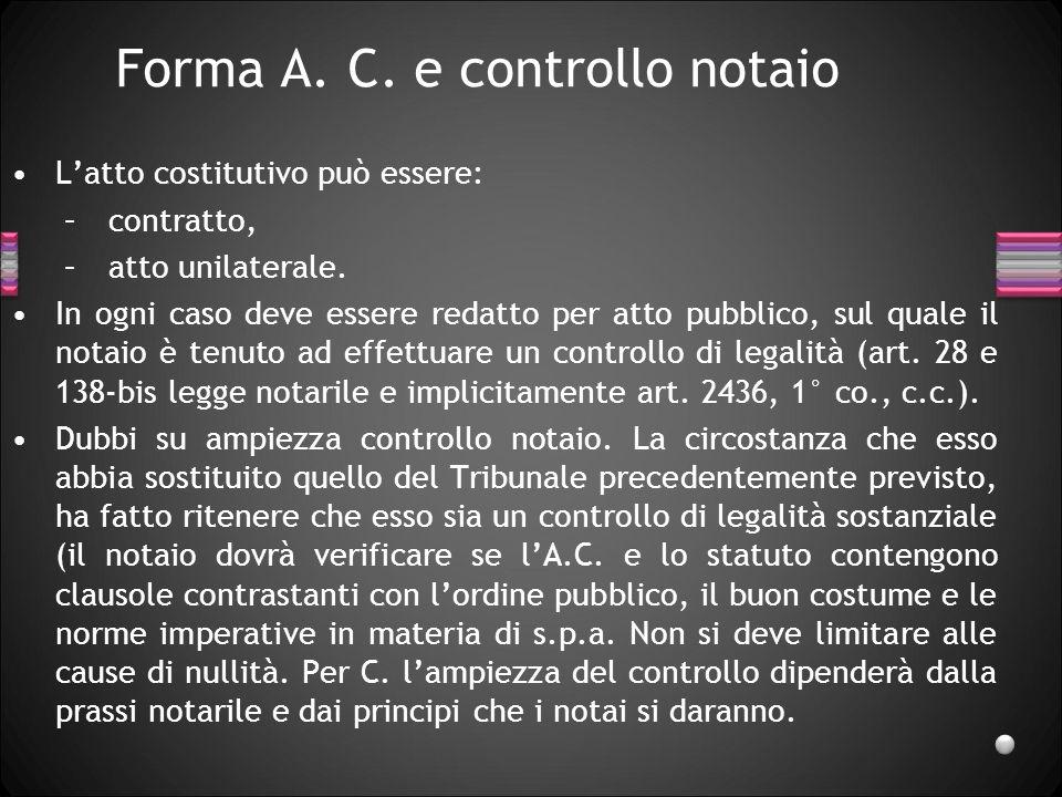 Forma A. C. e controllo notaio
