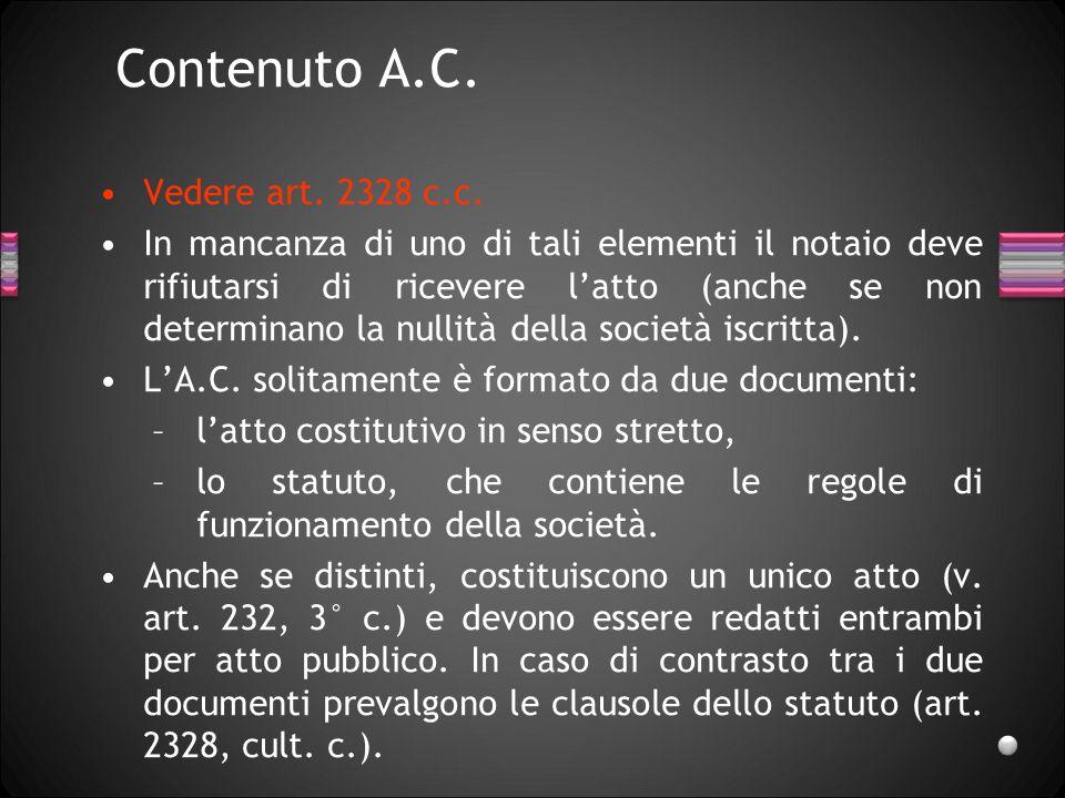Contenuto A.C. Vedere art. 2328 c.c.