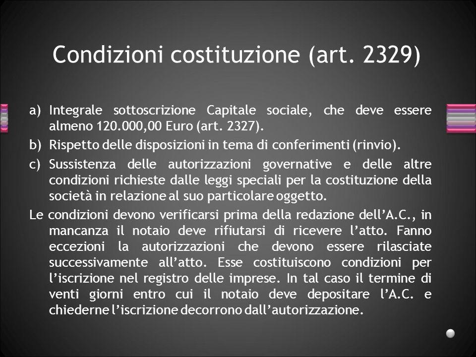 Condizioni costituzione (art. 2329)