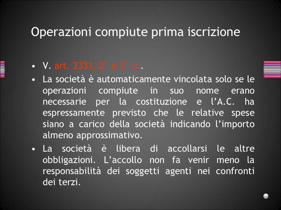 Operazioni compiute prima iscrizione