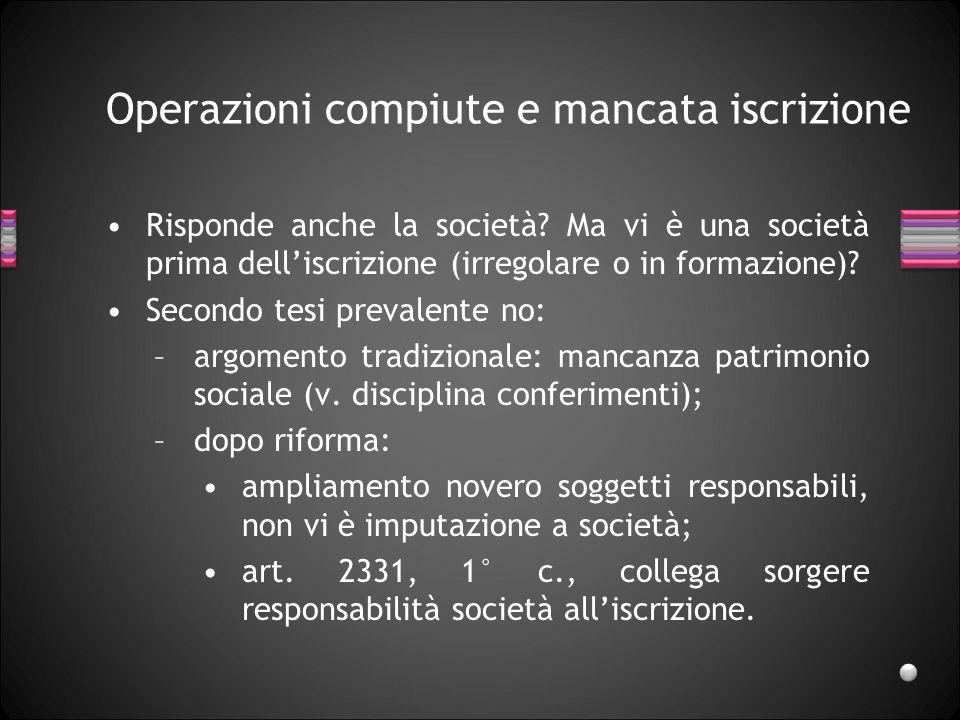 Operazioni compiute e mancata iscrizione