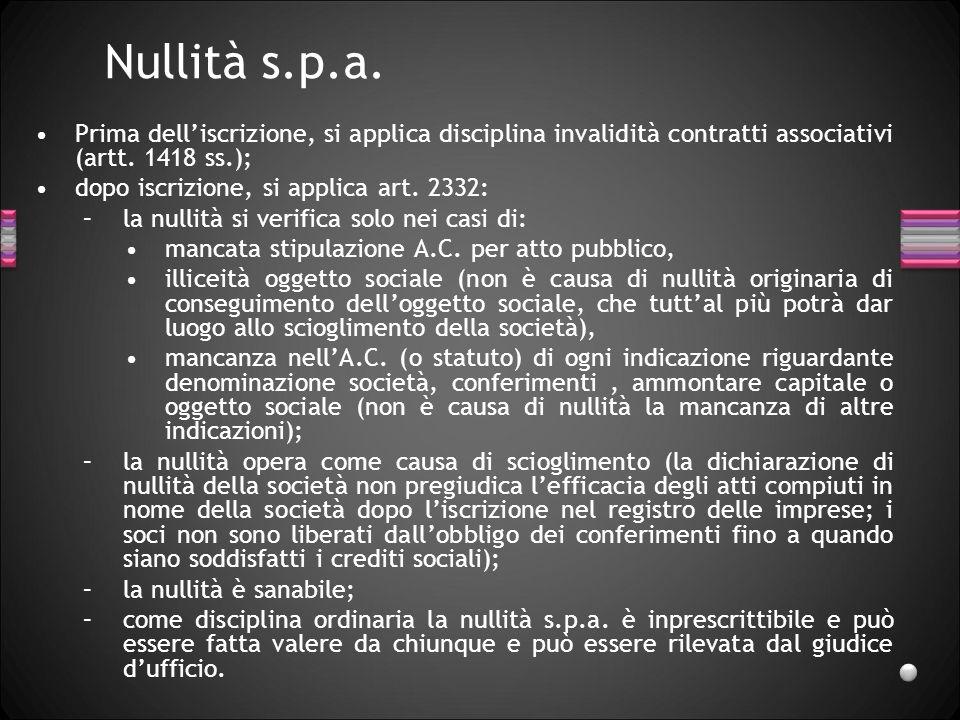 Nullità s.p.a. Prima dell'iscrizione, si applica disciplina invalidità contratti associativi (artt. 1418 ss.);