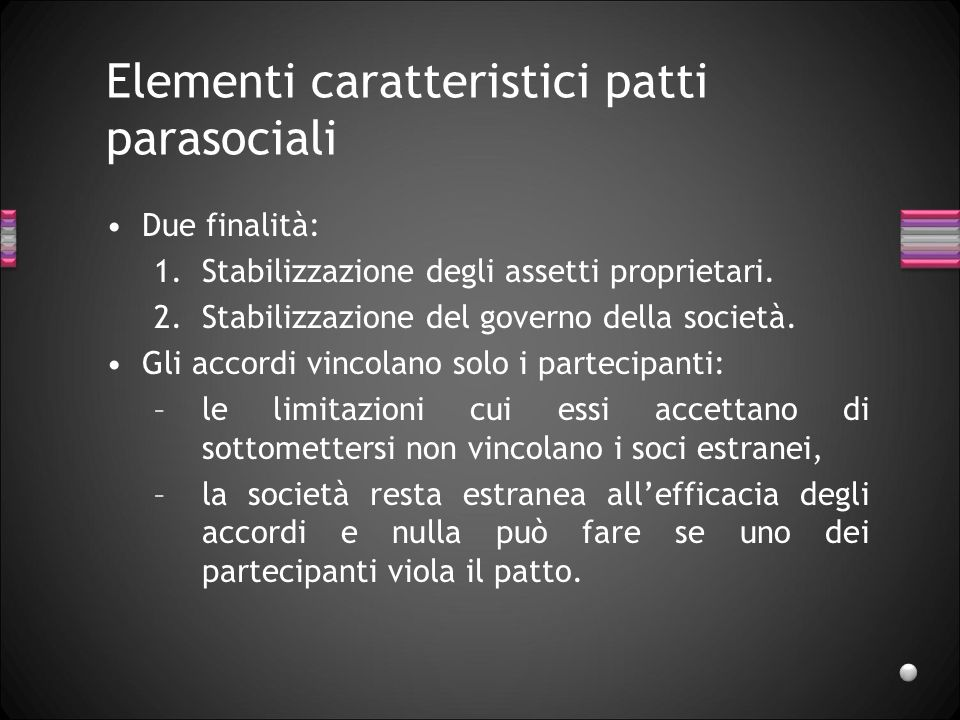 Elementi caratteristici patti parasociali