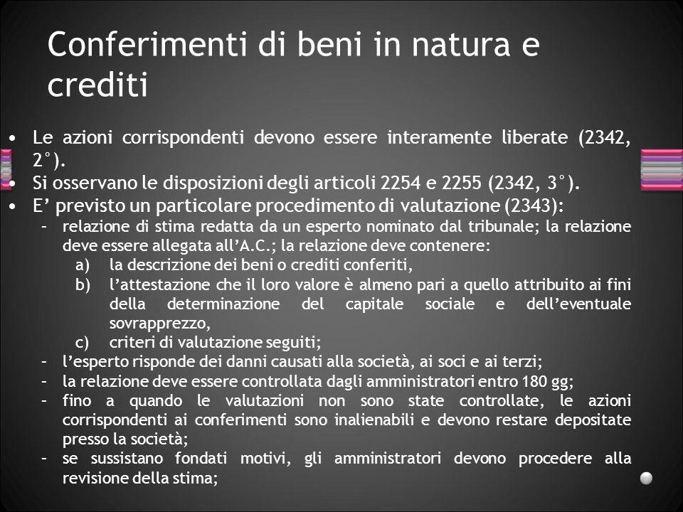 Conferimenti di beni in natura e crediti