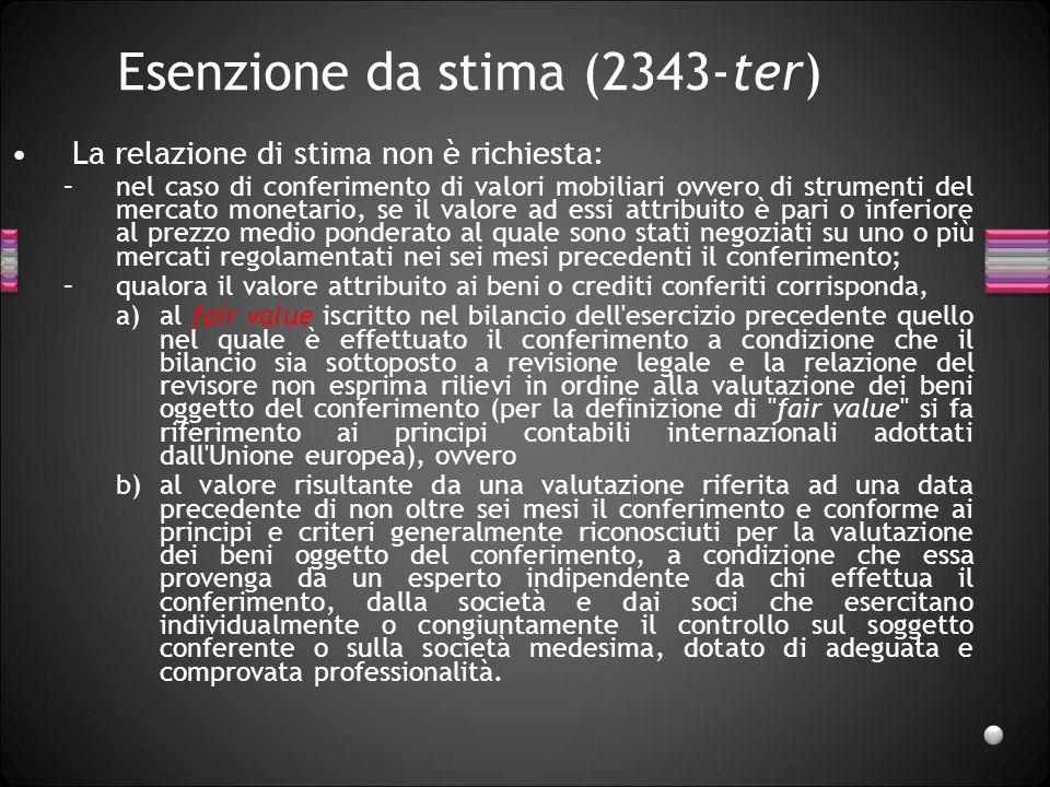 Esenzione da stima (2343-ter)