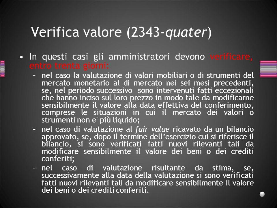 Verifica valore (2343-quater)
