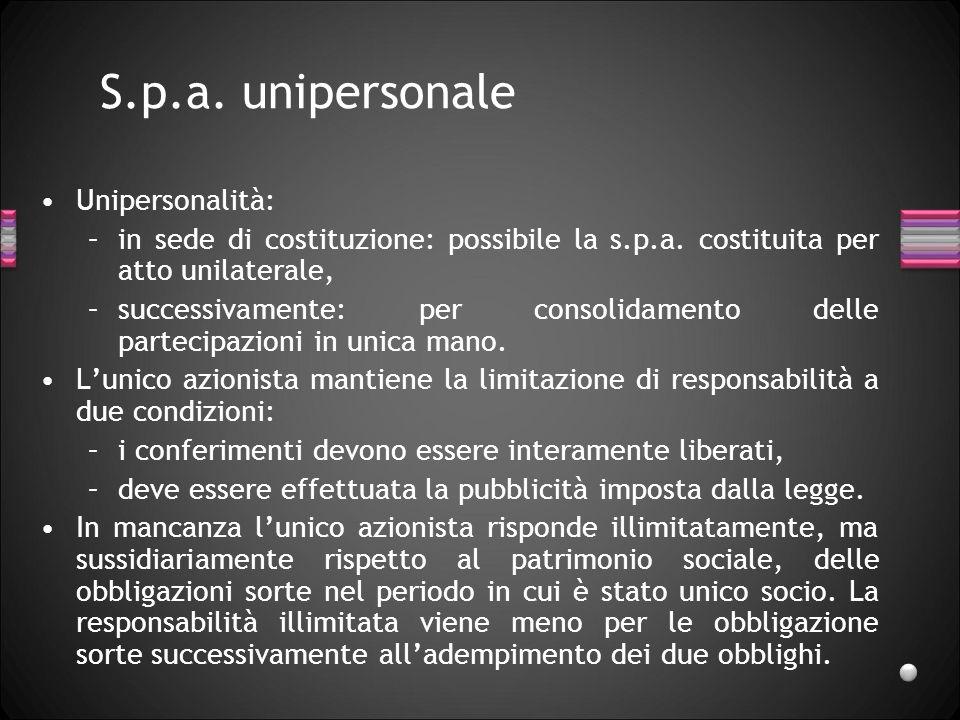 S.p.a. unipersonale Unipersonalità: