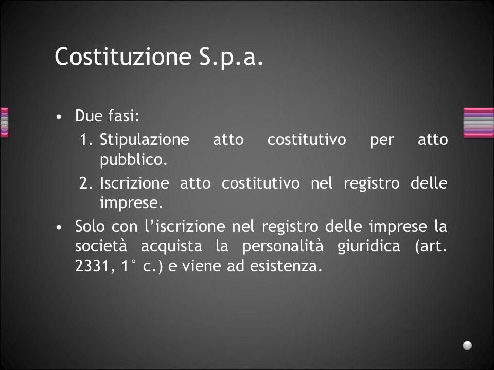 Costituzione S.p.a. Due fasi: