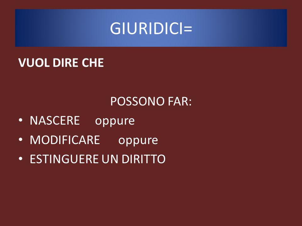 GIURIDICI= VUOL DIRE CHE POSSONO FAR: NASCERE oppure MODIFICARE oppure
