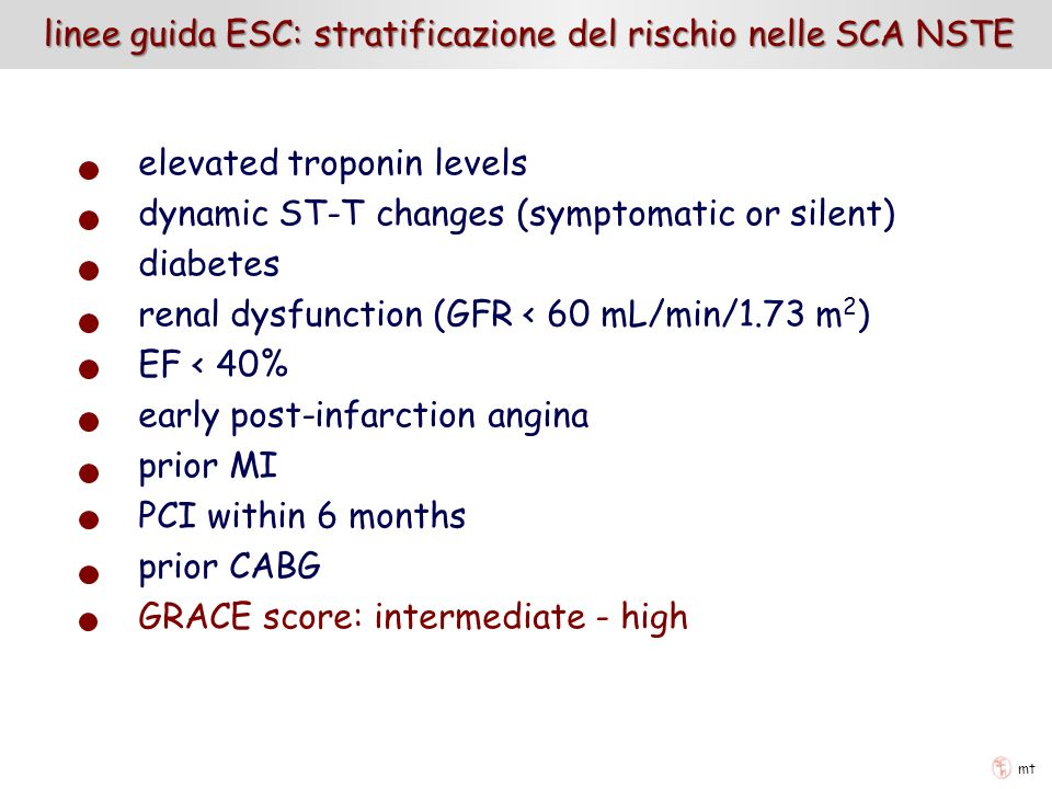 linee guida ESC: stratificazione del rischio nelle SCA NSTE