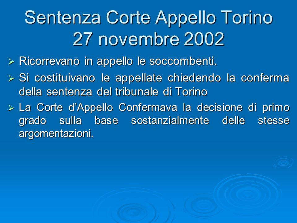 Sentenza Corte Appello Torino 27 novembre 2002