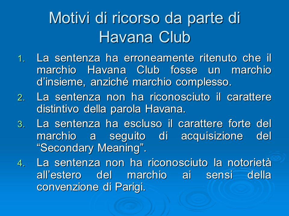 Motivi di ricorso da parte di Havana Club