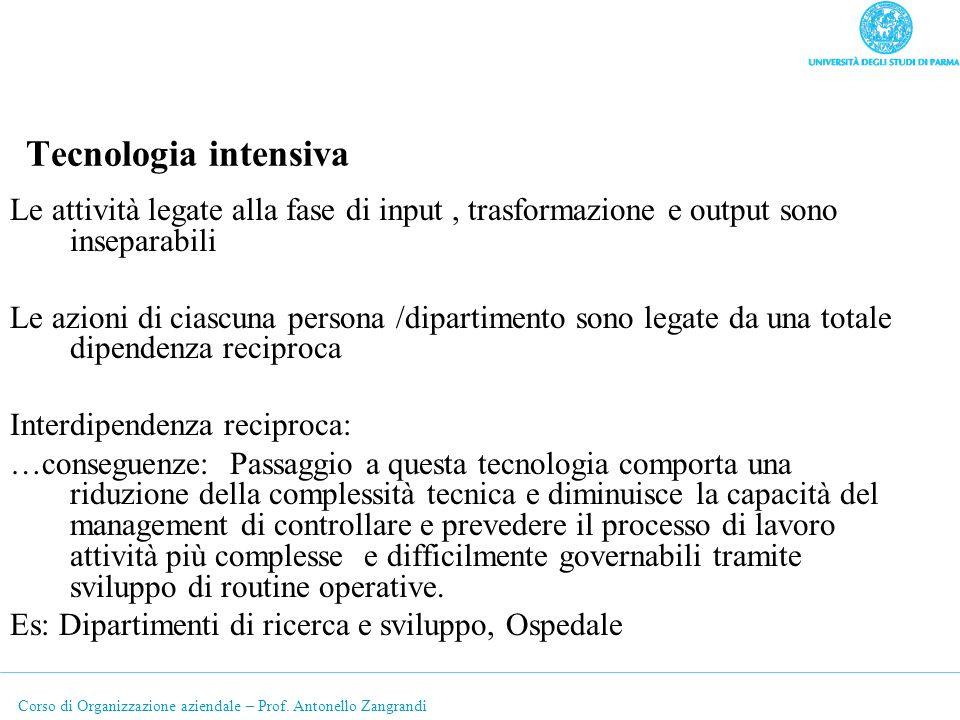 Tecnologia intensiva Le attività legate alla fase di input , trasformazione e output sono inseparabili.