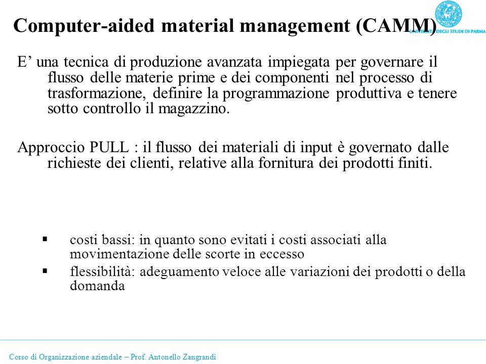 Computer-aided material management (CAMM)