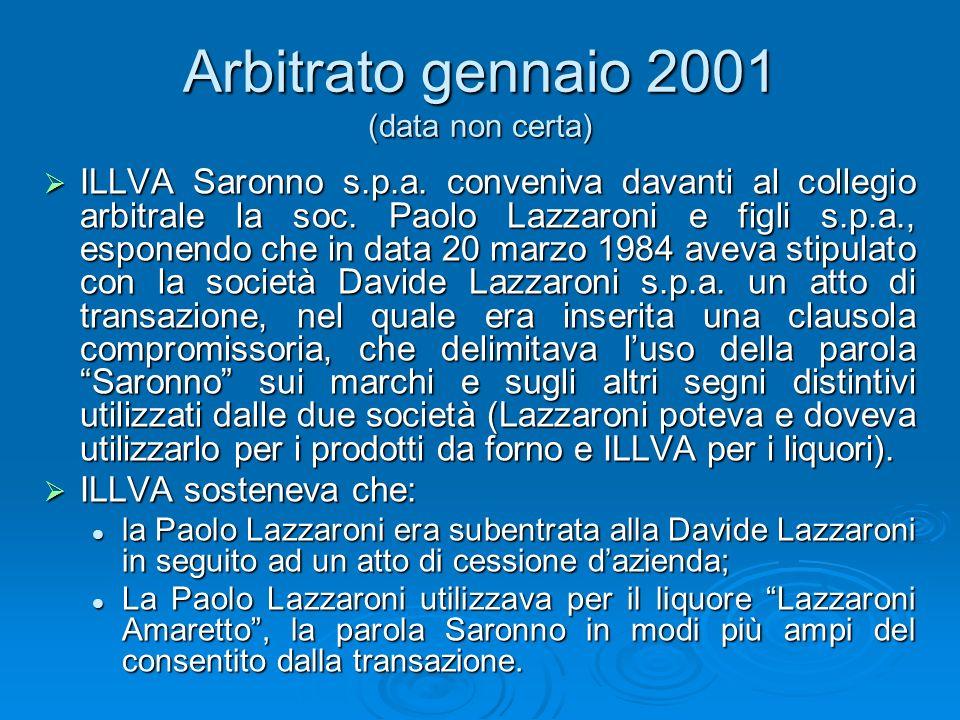 Arbitrato gennaio 2001 (data non certa)