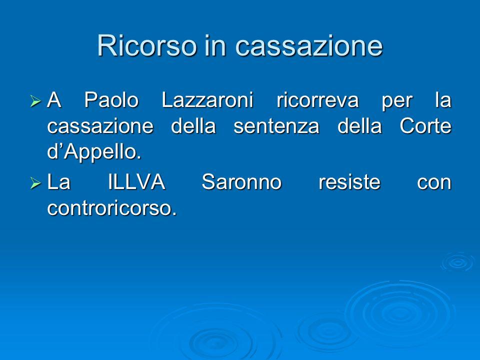 Ricorso in cassazione A Paolo Lazzaroni ricorreva per la cassazione della sentenza della Corte d'Appello.