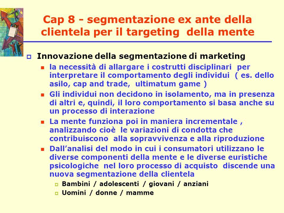 Cap 8 - segmentazione ex ante della clientela per il targeting della mente