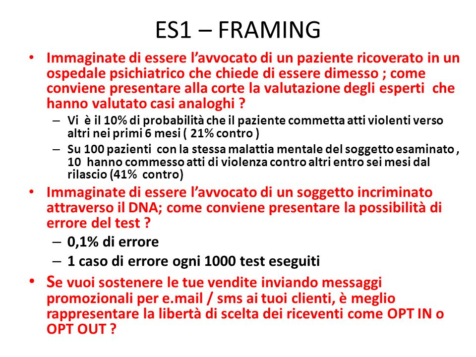 ES1 – FRAMING