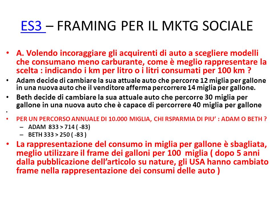 ES3 – FRAMING PER IL MKTG SOCIALE
