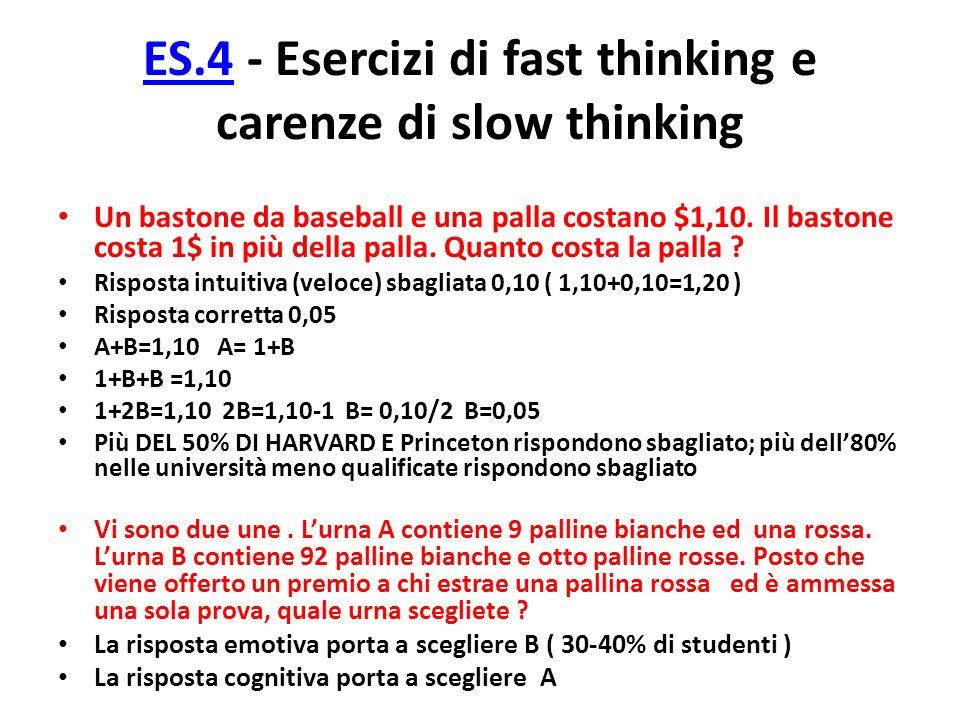 ES.4 - Esercizi di fast thinking e carenze di slow thinking