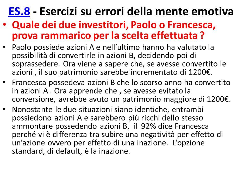 ES.8 - Esercizi su errori della mente emotiva