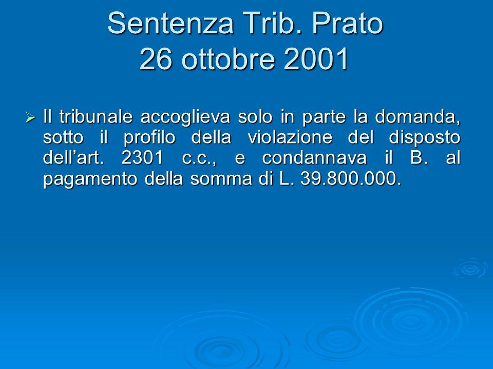 Sentenza Trib. Prato 26 ottobre 2001