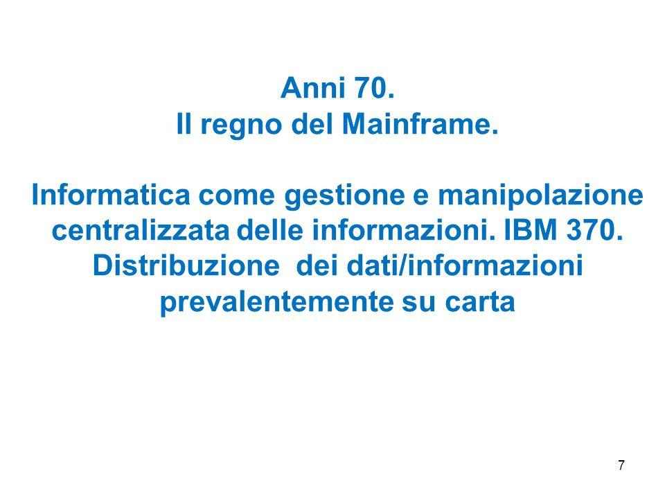 Anni 70. Il regno del Mainframe.