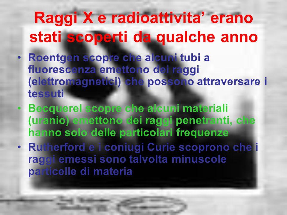 Raggi X e radioattivita' erano stati scoperti da qualche anno