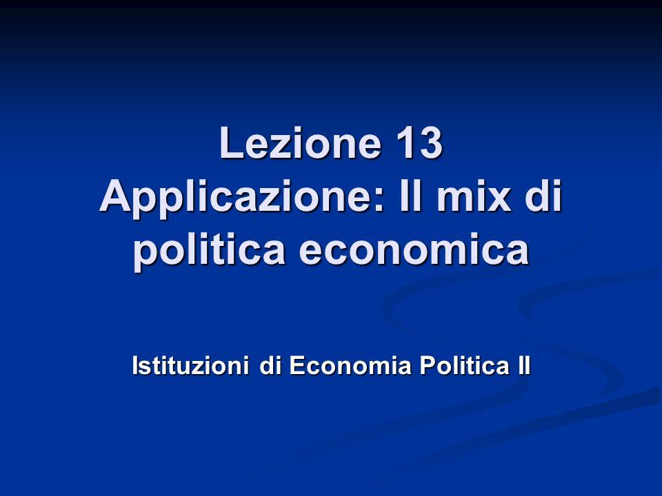 Lezione 13 Applicazione: Il mix di politica economica