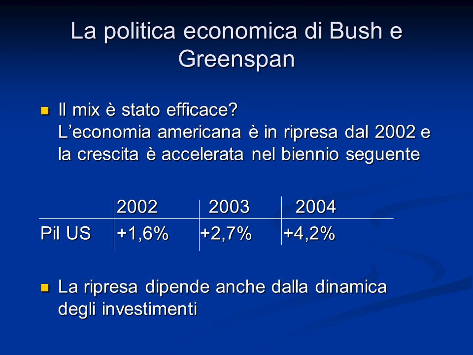 La politica economica di Bush e Greenspan
