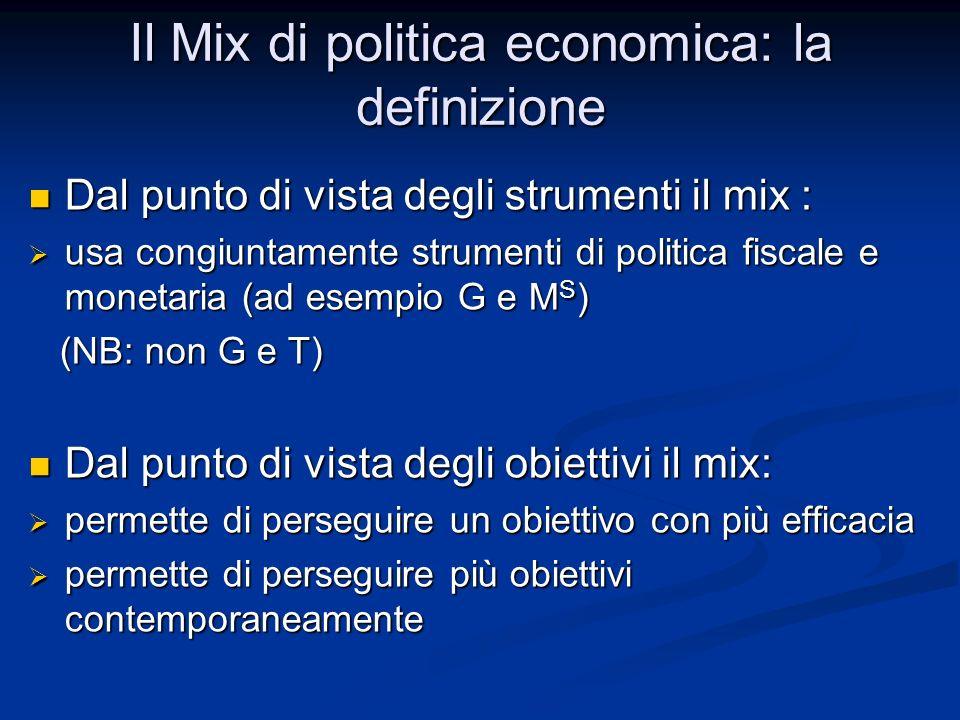 Il Mix di politica economica: la definizione