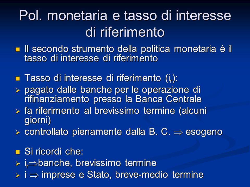 Pol. monetaria e tasso di interesse di riferimento