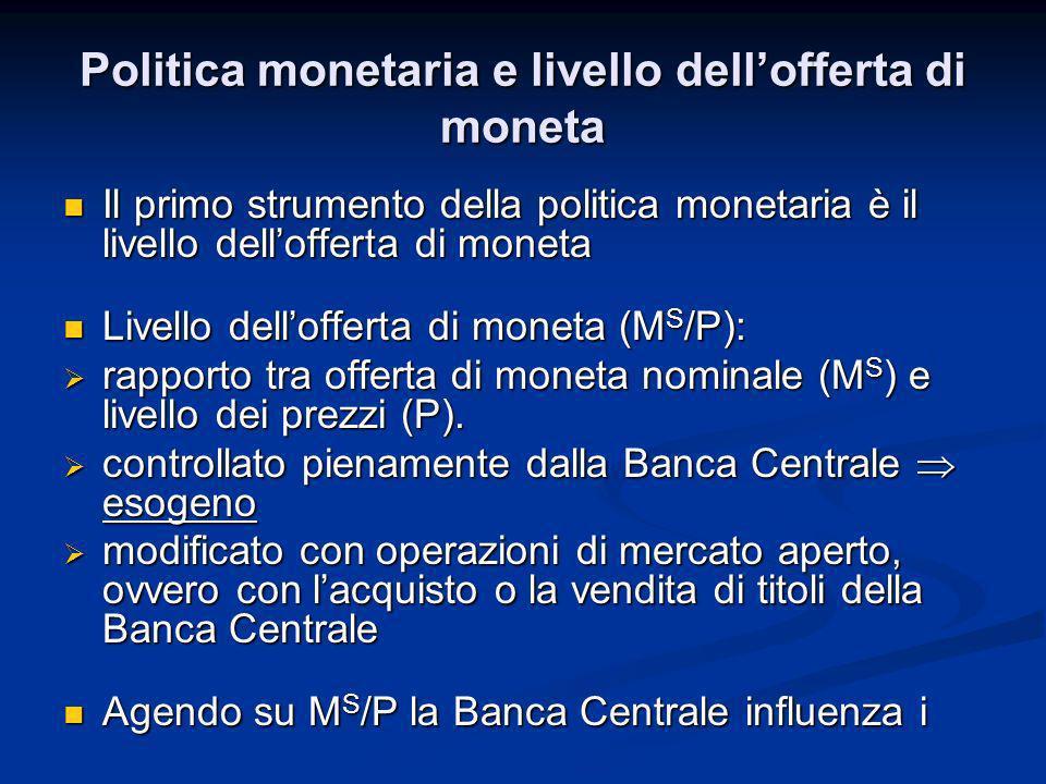 Politica monetaria e livello dell'offerta di moneta