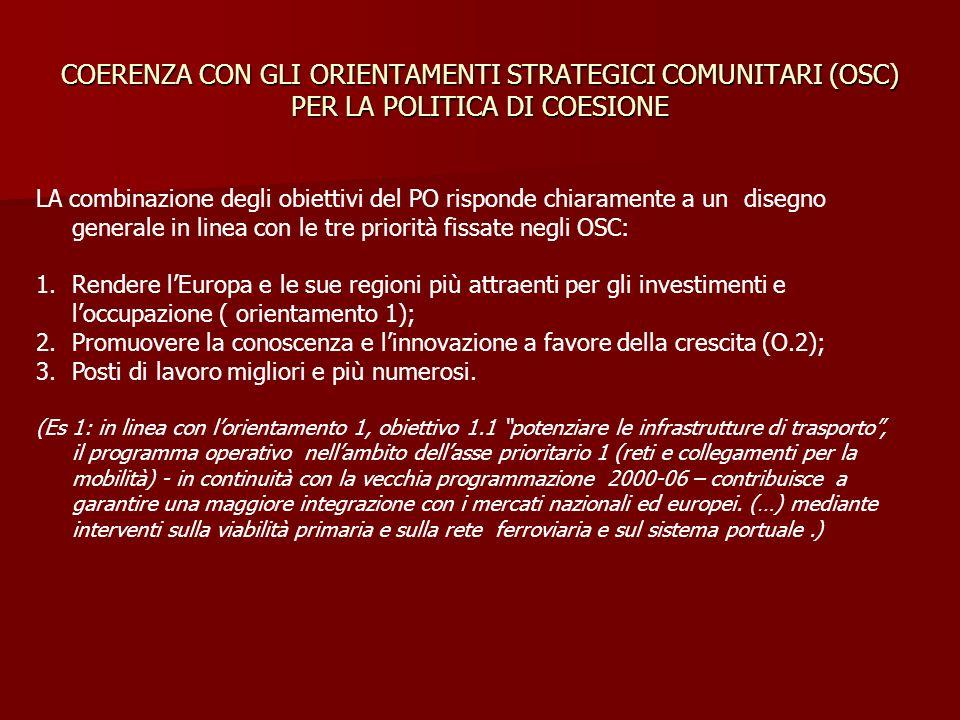 COERENZA CON GLI ORIENTAMENTI STRATEGICI COMUNITARI (OSC) PER LA POLITICA DI COESIONE