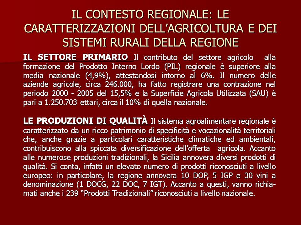 IL CONTESTO REGIONALE: LE CARATTERIZZAZIONI DELL'AGRICOLTURA E DEI SISTEMI RURALI DELLA REGIONE