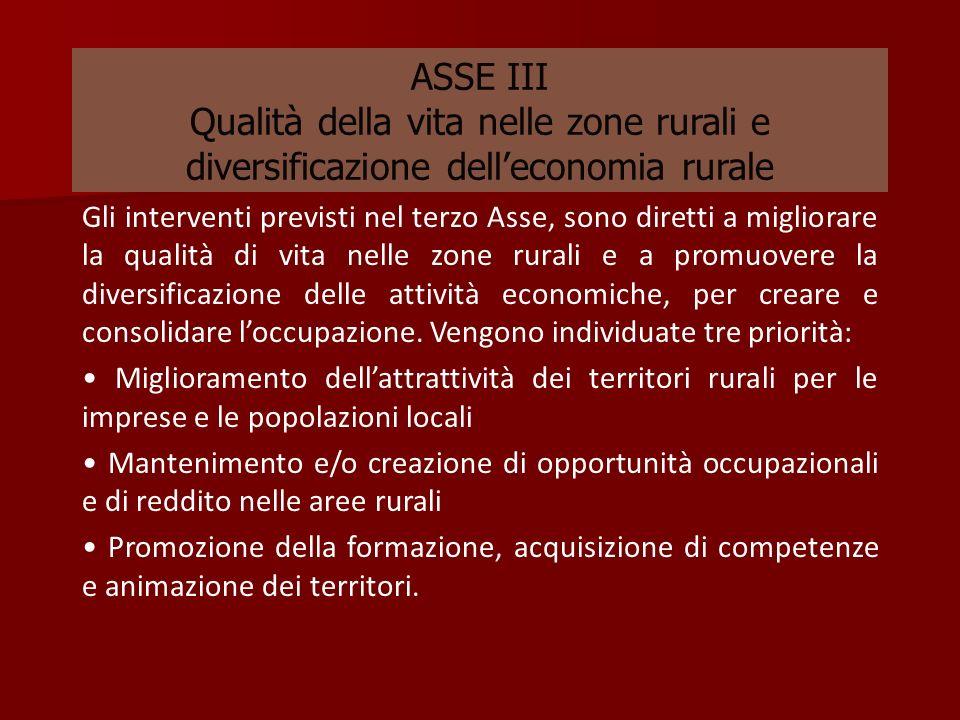ASSE III Qualità della vita nelle zone rurali e diversificazione dell'economia rurale
