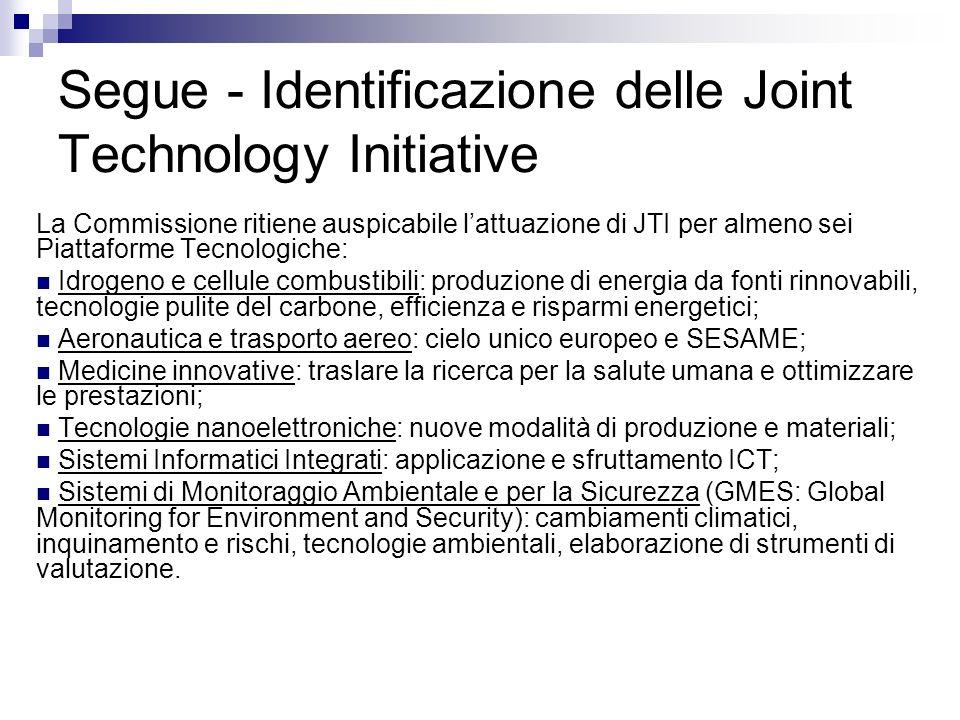 Segue - Identificazione delle Joint Technology Initiative
