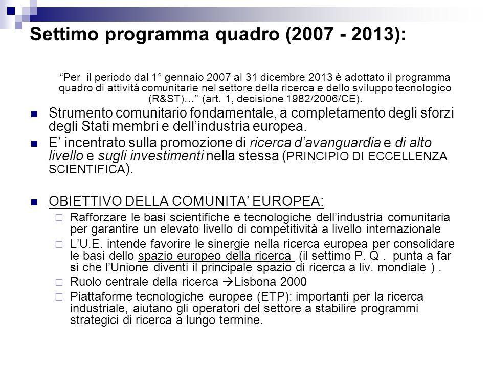 Settimo programma quadro (2007 - 2013):
