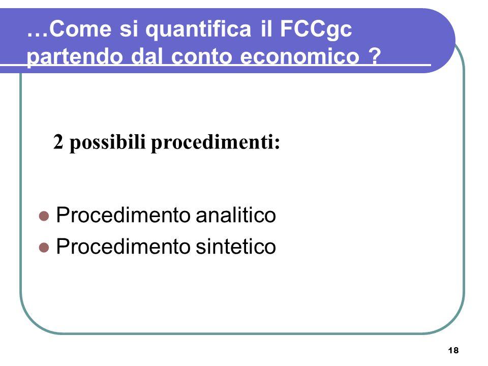 …Come si quantifica il FCCgc partendo dal conto economico