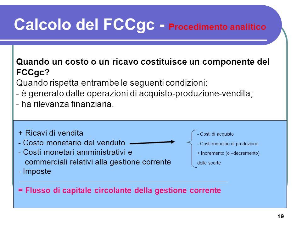 Calcolo del FCCgc - Procedimento analitico